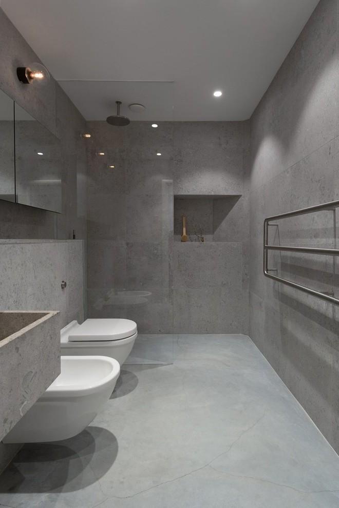 Betonoptik lässt das Badezimmer puristisch und modern aussehen