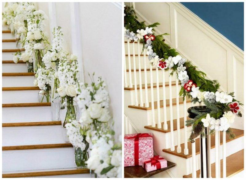 Die Treppen mit Blumen dekorieren.