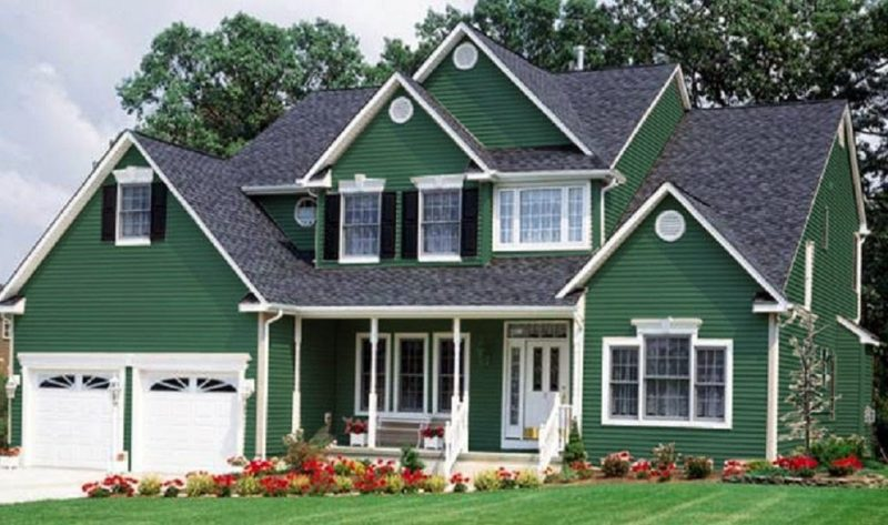 Grüne Fassadenfarbe