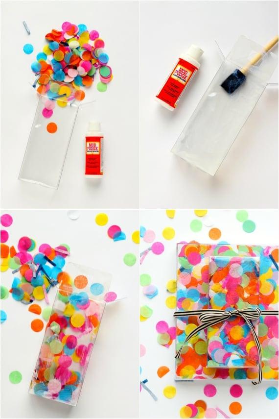 Keine Klebestreifen, kein Geschenkpapier: Mit Konfetti Geschenke kreativ verpacken