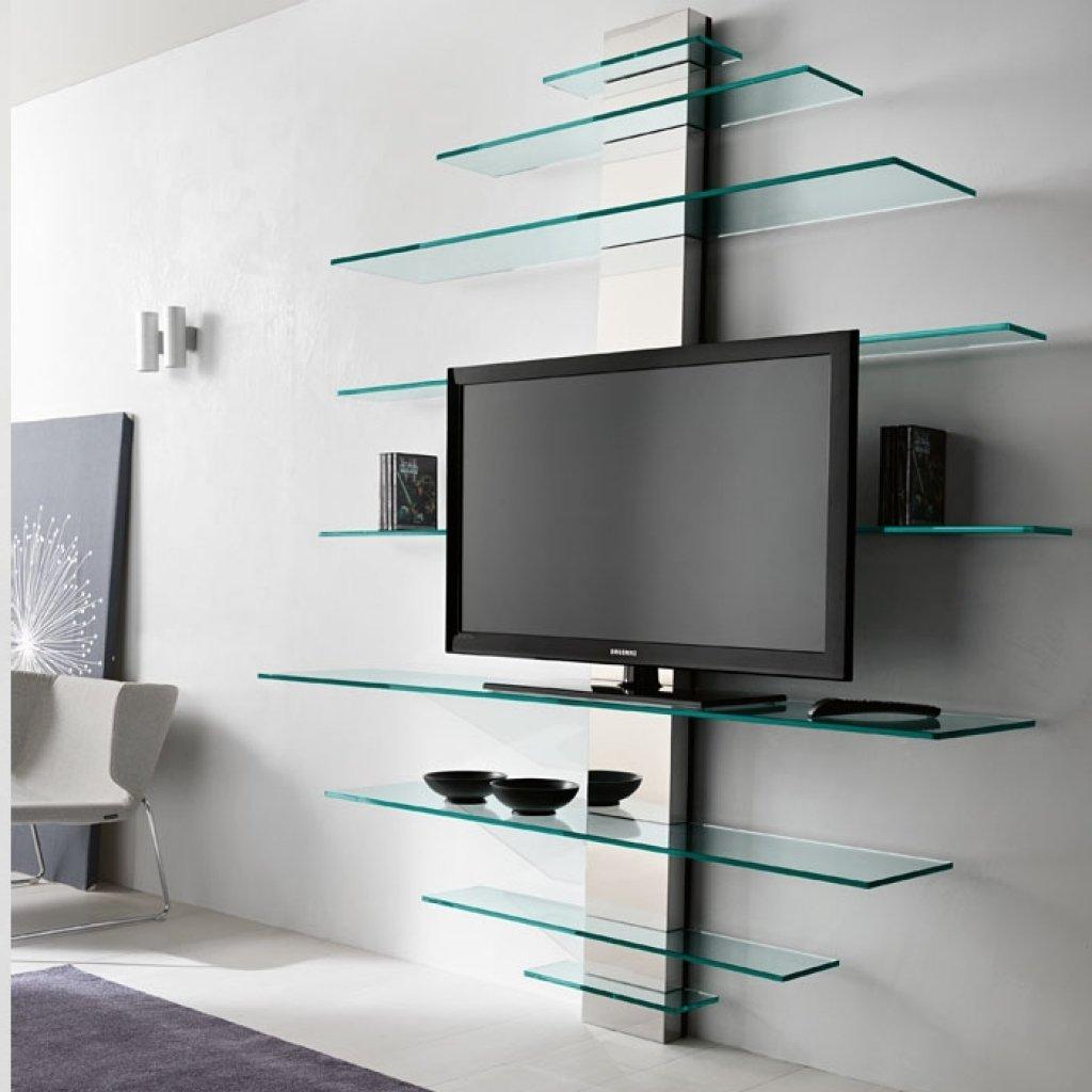 Glasregale als Fernseherregal