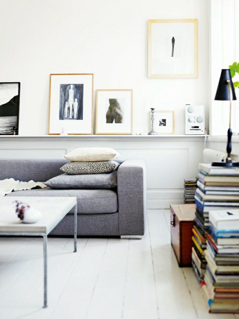 skandinavische Möbel graues Polstersofa Tisch aus Metall Fotos