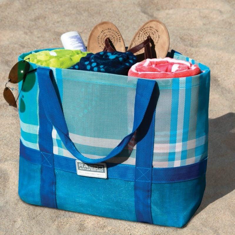Strandtasche nähen grosses Modell in Blau
