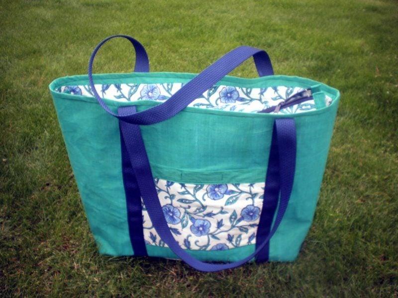 Strandtasche nähen kreative DIY Ideen herrliche Variante im Hellblau