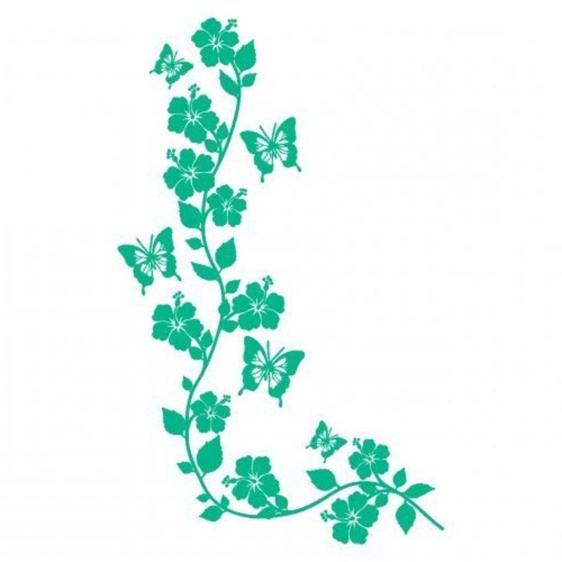 Tattoovorlage Blumenranken und Schmetterlinge einfarbig