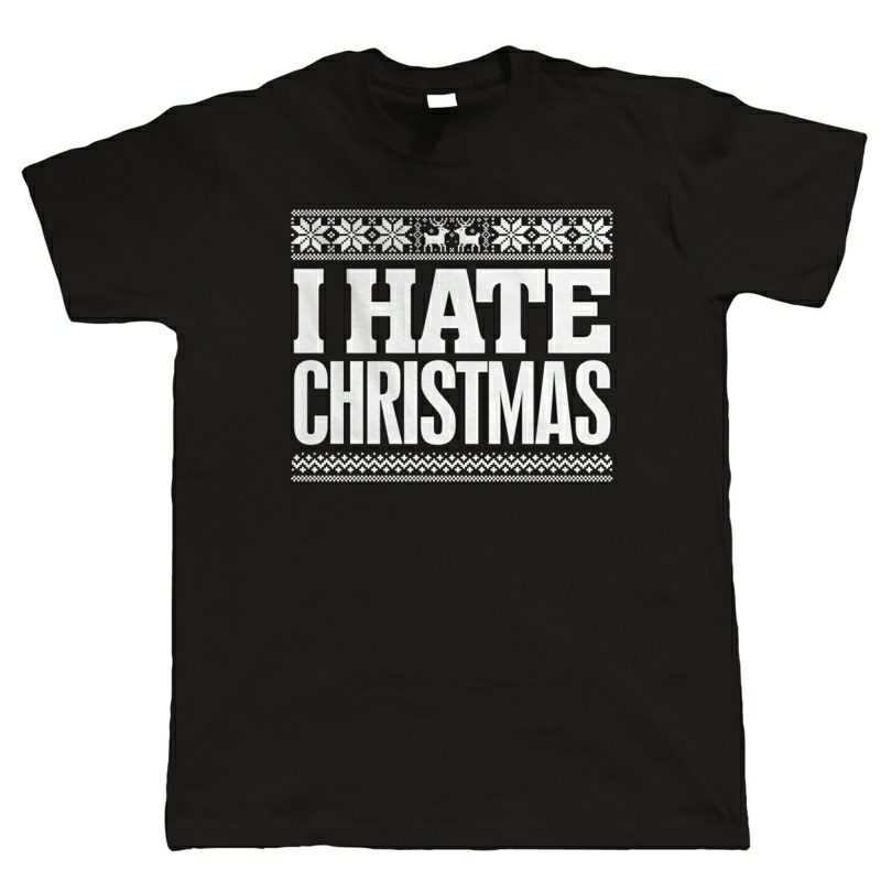 i hate christmas black t-shirt