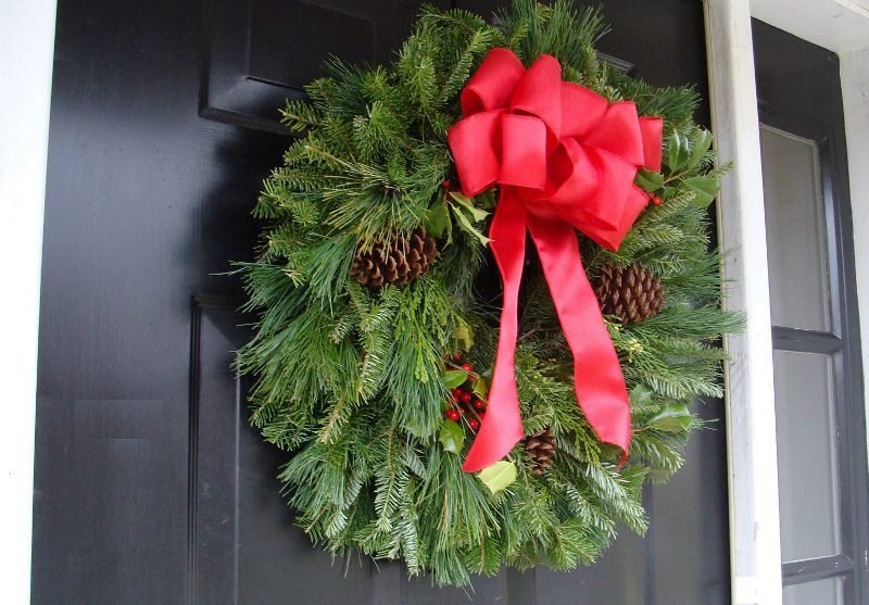 lush fir wreath front door christmas green wreath with decorations front door christmas decoration