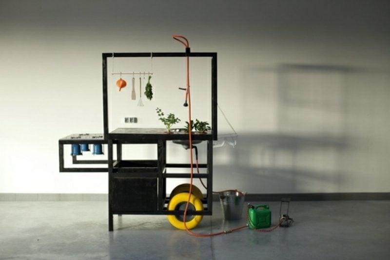 mobile Küche im Schwarz moderner Look
