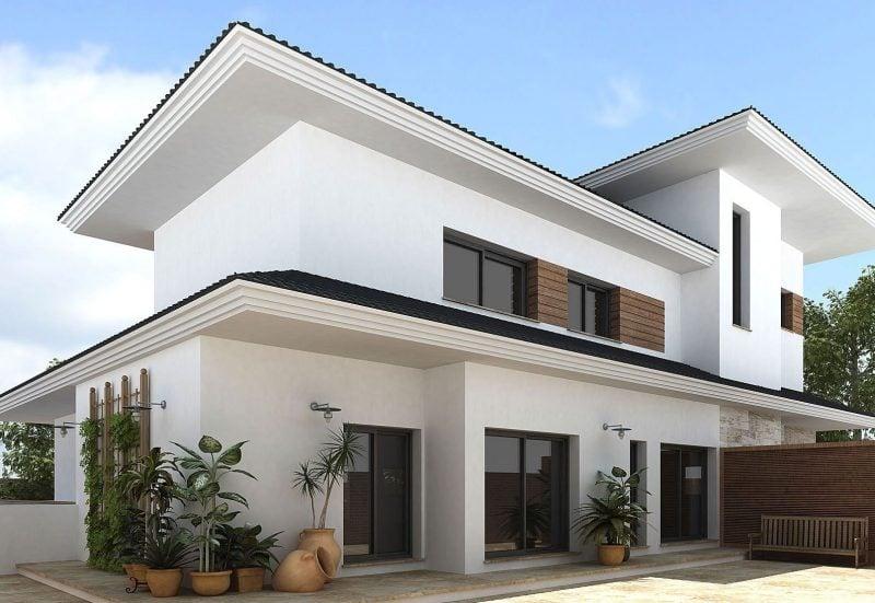 Weiße Fassadenfarbe