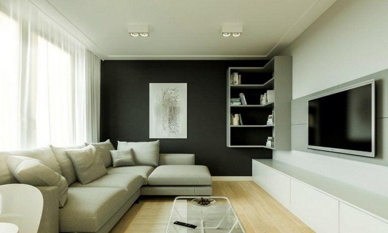 TV Wand Wohnzimmer moderner Look Regale schwarze Akzentwand