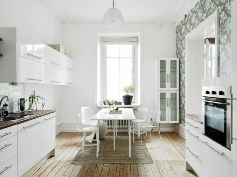 skandinavische Möbel moderne Küche im Weiss