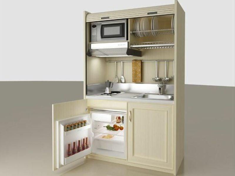 mobile Küche Backofen und Kühlschrank eingebaut