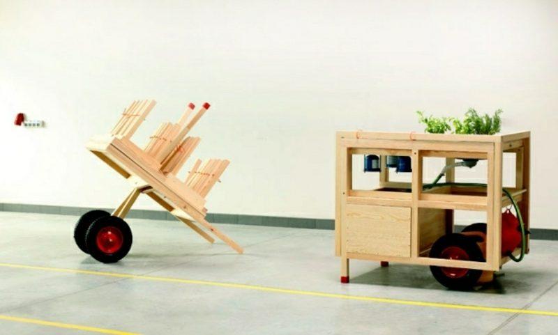 mobile Küche aus zwei Teilen flexibel