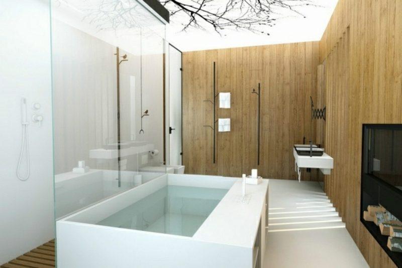 Luxus Badezimmer von der Natur inspiriert riesige Badewanne
