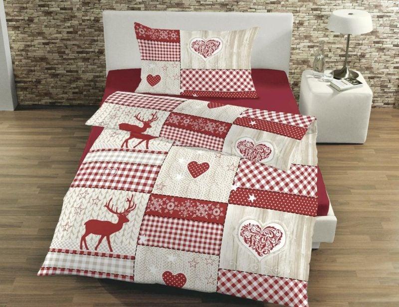 originelle Bettwäsche zu Weihnachten rot und weiss Schneeflocken, Herzen, Rentiere