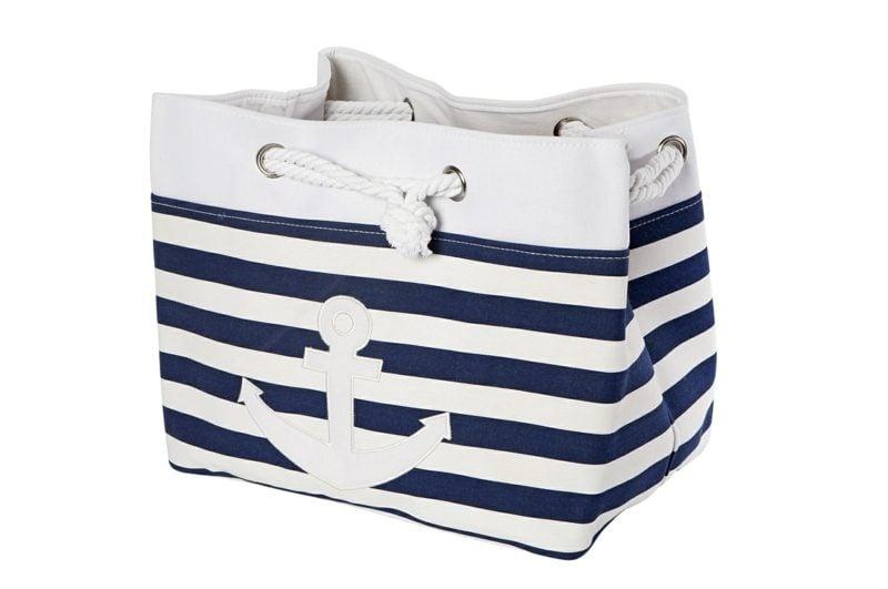 Strandtasche nähen gestreift weiss und marineblau Anker