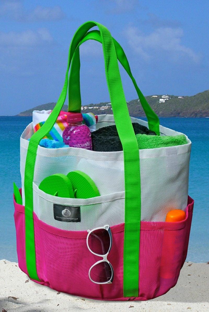 Strandtasche nähen riesige Variante in grellen Farben origineller Look