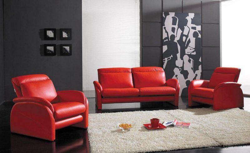 Rote Ledermöbel im stilvollen Design!