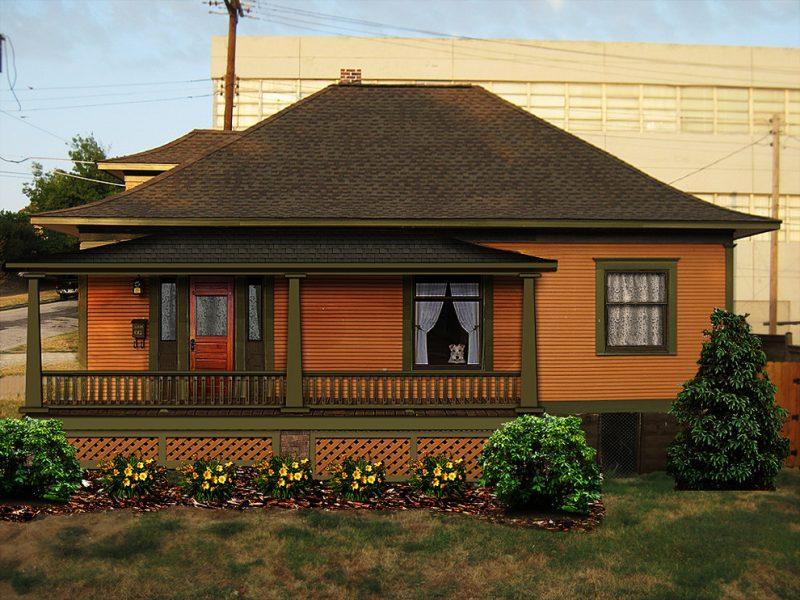 Schöne Fassadenfarbe in Orange