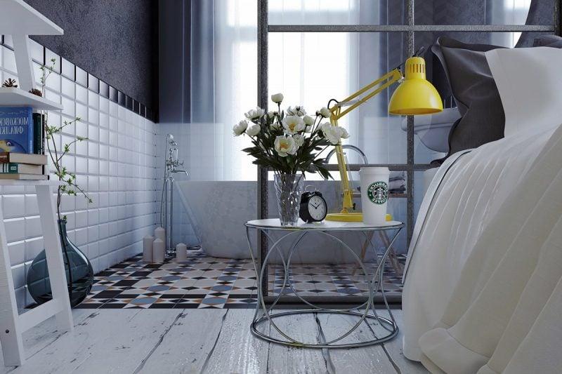 Blumendeko im Schlafzimmer.