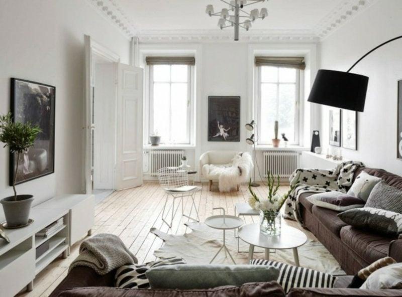 skandinavische Möbel Wohnzimmer neutrale Farbgestaltung originelle Dekorationen