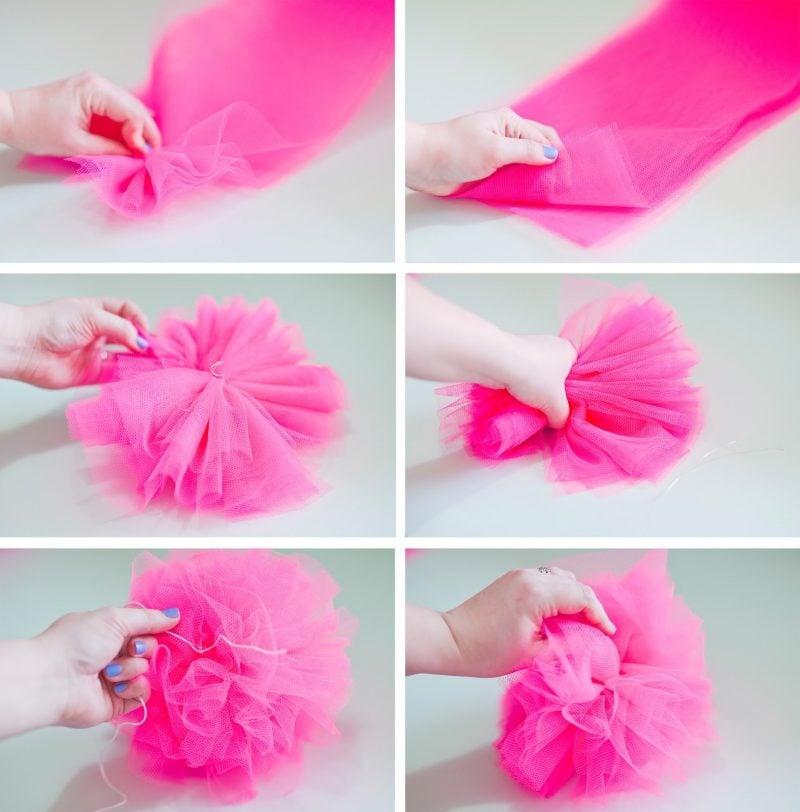 Pompons aus Seidenpapier basteln