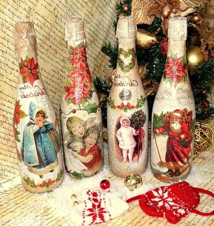 Serviettentechnik Anleitung - Weihnachtsflaschen basteln