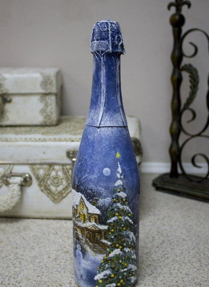 Serviettentechnik Anleitung - Dekorieren Sie die Sektflasche für Silvesterparty