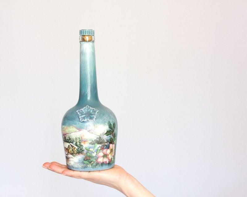 Serviettentechnik Anleitung - Basteln Sie Sektflasche als Neujahrsgeschenk
