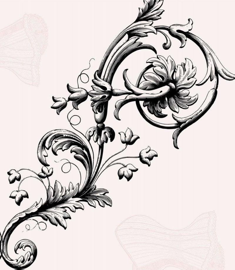 Blumenranken Tattoo Vorlage stilisiert