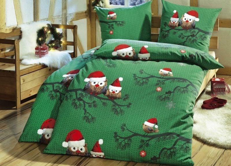 Bettwäsche zu Weihnachten originelles Design lustige Eulen