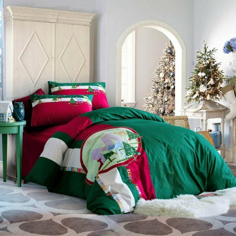 Bettwäsche zu Weihnachten typische Weihnachtsfarben und -motive