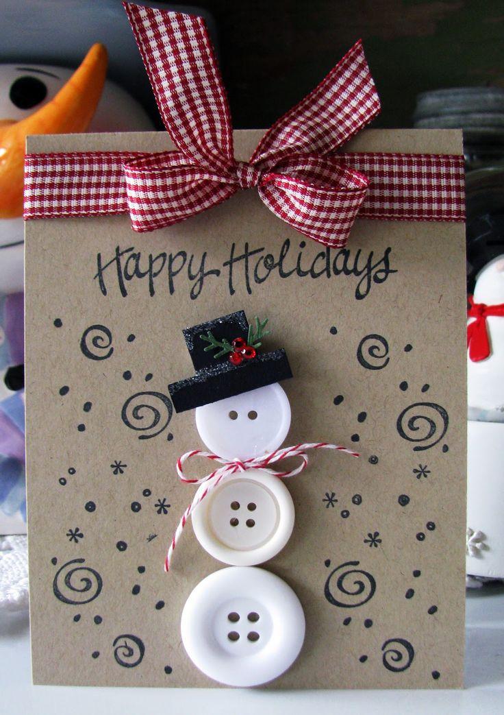 Weihnachtskarten basteln - Vintage Grußkarten mit Knöpfen