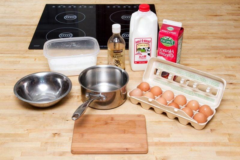 Zutaten bei der Zubereitung von Softeis!