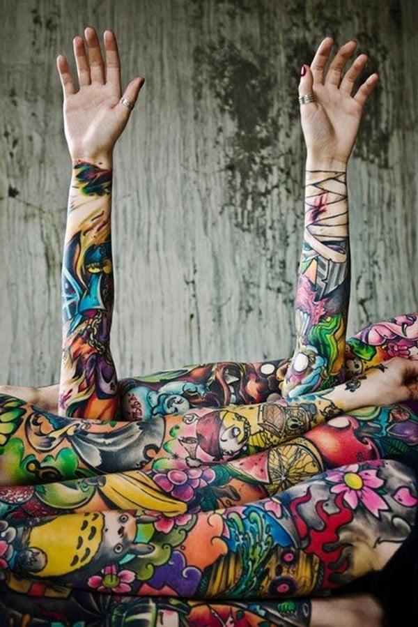 ärmel tattoo ideen tattoo motive frauen männer farbig