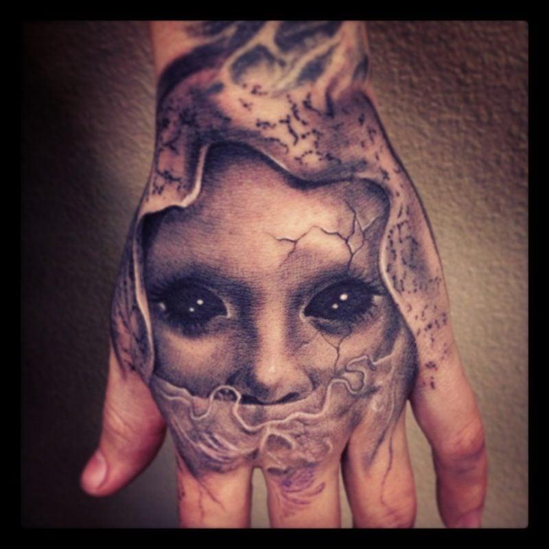 3D hand tattoo ideen gesicht tattoo motive frauen und männer augen