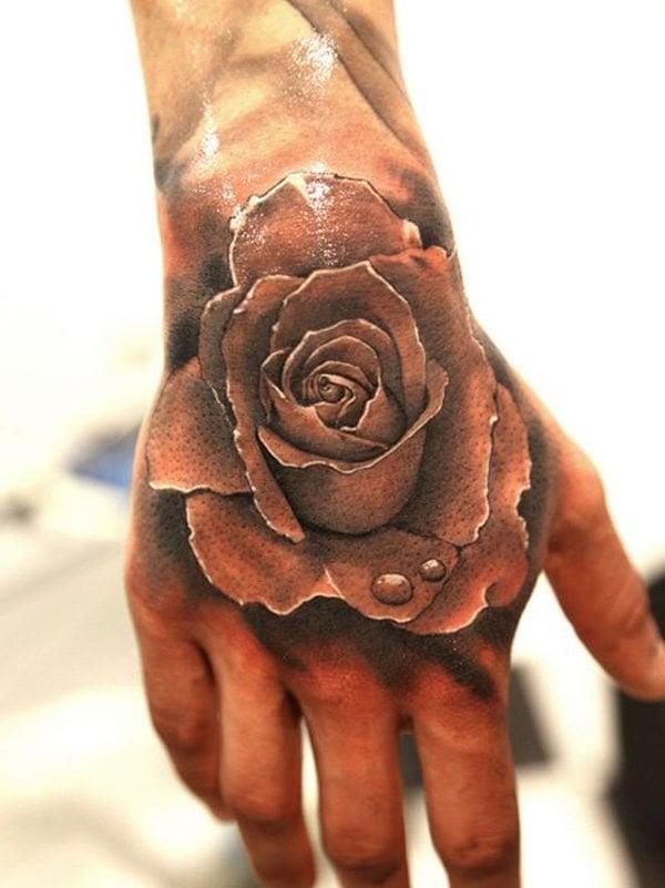 3D tattoos rose tattoo ideen hand tattoos frauen und männer