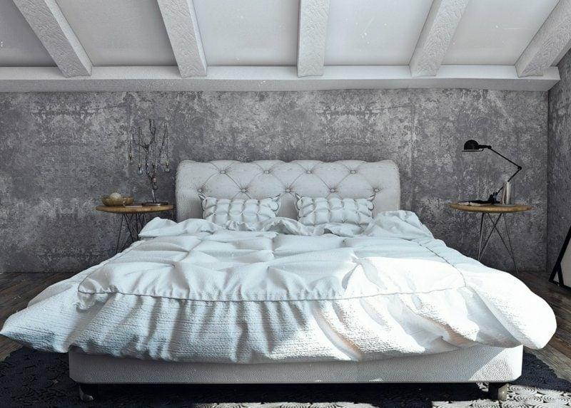 Dekorputz Schlafzimmer Betonoptik