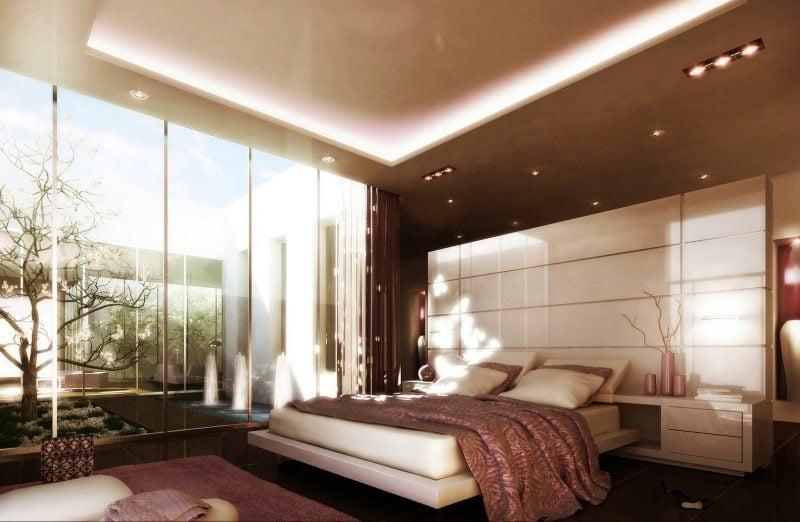 Bodentiefe Fenster in Schlafzimmer für die Liebhaber von dem Luxus