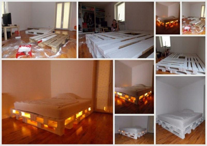 Europaletten Bett kreative Gestaltungsideen