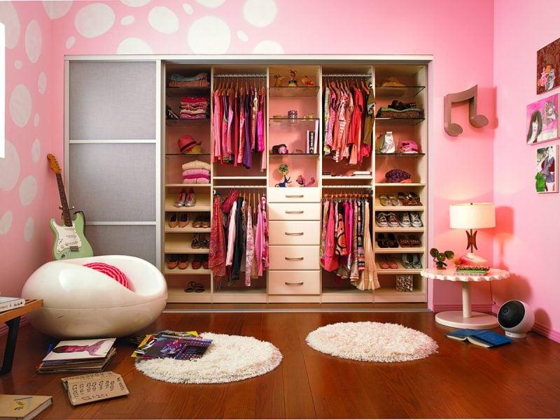 DIY begehbarer kleiderschrank selber bauen kinderzimmer einrichten rosa