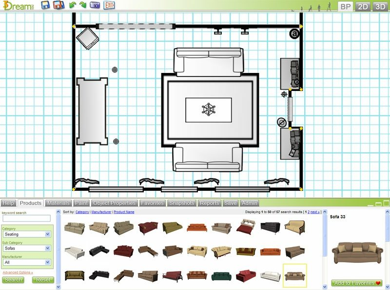 3D Raumgestalter Design My Room Interface