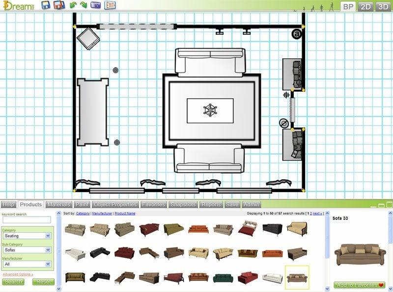 3D Raumgestalter Design My Room Interface