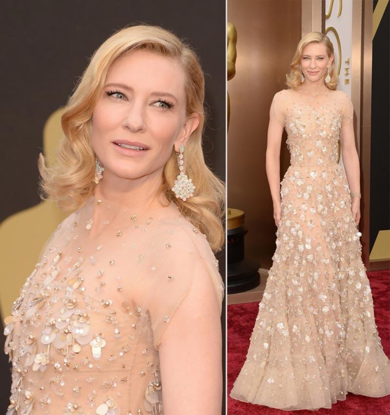 Designerstoffe: Cate Blanchett in Armani Prive in Beige