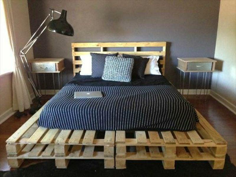 Europaletten Bett selber bauen modernes Doppelbett mit Kopfteil