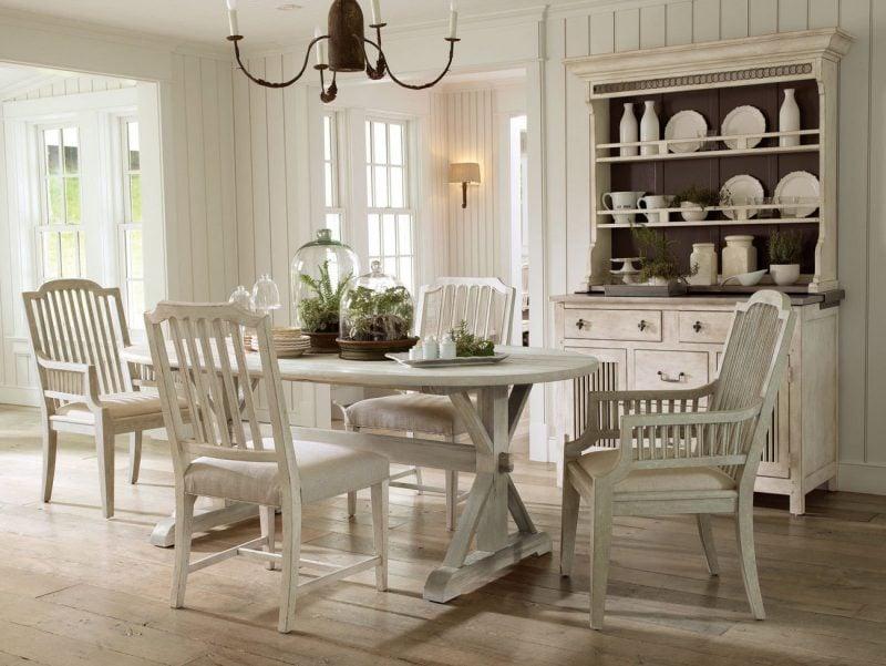 Einrichtung landhausstil möbel weiß design esszimmer esstisch stuhl holz ideen rustikale möbel