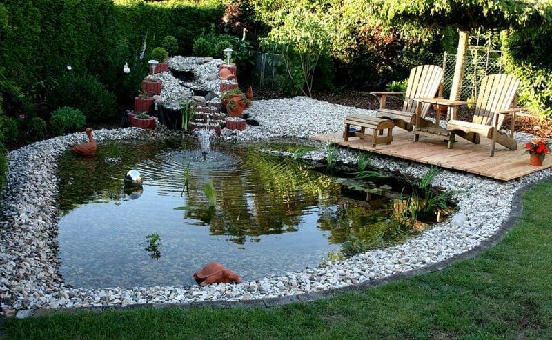 Gartengestaltung Ideen dekorativer Teich gross