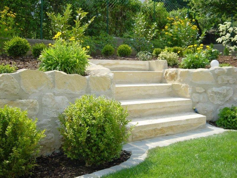 Gartengestaltung Ideen Treppe Stein Hochbeeten