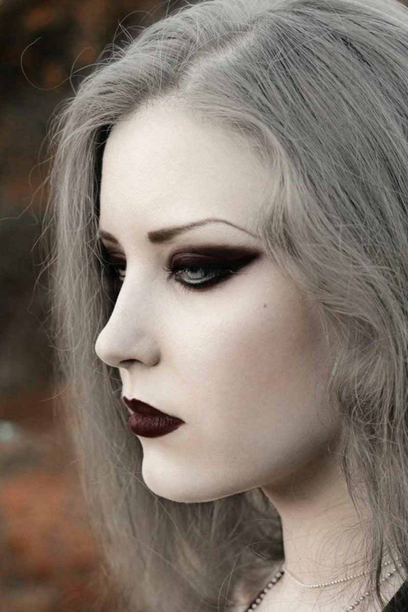 Halloween Kostüme Hexe Make-up herrlich graue Haare