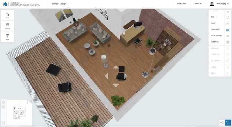 Raumgestalter Homestyler Interface Optionen